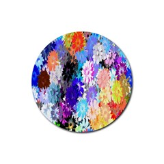 Flowers Colorful Drawing Oil Rubber Round Coaster (4 Pack)