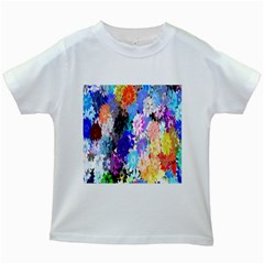 Flowers Colorful Drawing Oil Kids White T Shirts
