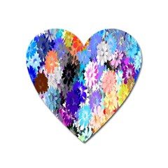 Flowers Colorful Drawing Oil Heart Magnet