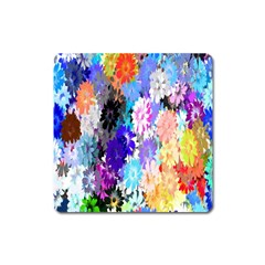 Flowers Colorful Drawing Oil Square Magnet