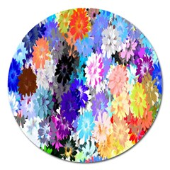 Flowers Colorful Drawing Oil Magnet 5  (round)