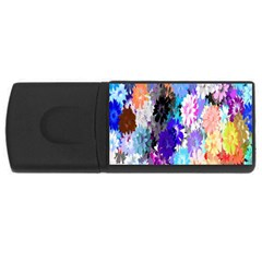 Flowers Colorful Drawing Oil USB Flash Drive Rectangular (1 GB)