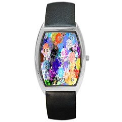 Flowers Colorful Drawing Oil Barrel Style Metal Watch