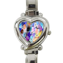 Flowers Colorful Drawing Oil Heart Italian Charm Watch