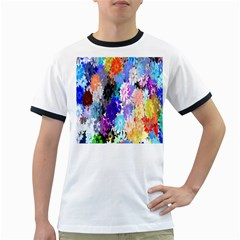 Flowers Colorful Drawing Oil Ringer T-Shirts