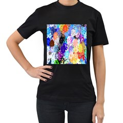 Flowers Colorful Drawing Oil Women s T Shirt (black) (two Sided)