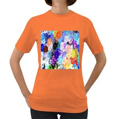 Flowers Colorful Drawing Oil Women s Dark T Shirt