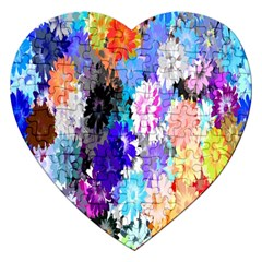 Flowers Colorful Drawing Oil Jigsaw Puzzle (heart)