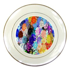Flowers Colorful Drawing Oil Porcelain Plates