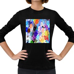 Flowers Colorful Drawing Oil Women s Long Sleeve Dark T-Shirts