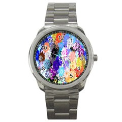 Flowers Colorful Drawing Oil Sport Metal Watch