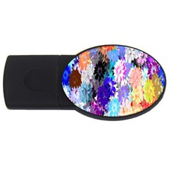 Flowers Colorful Drawing Oil USB Flash Drive Oval (4 GB)