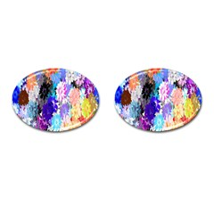 Flowers Colorful Drawing Oil Cufflinks (Oval)