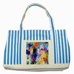 Flowers Colorful Drawing Oil Striped Blue Tote Bag