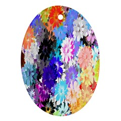 Flowers Colorful Drawing Oil Oval Ornament (two Sides)