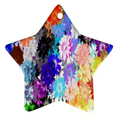 Flowers Colorful Drawing Oil Star Ornament (Two Sides)