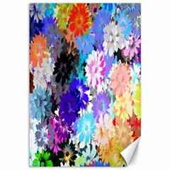 Flowers Colorful Drawing Oil Canvas 12  X 18