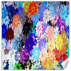Flowers Colorful Drawing Oil Canvas 20  x 20