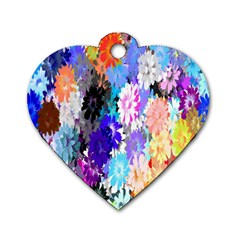 Flowers Colorful Drawing Oil Dog Tag Heart (One Side)
