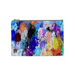 Flowers Colorful Drawing Oil Cosmetic Bag (Medium)