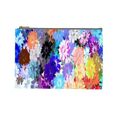Flowers Colorful Drawing Oil Cosmetic Bag (Large)