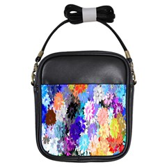 Flowers Colorful Drawing Oil Girls Sling Bags