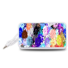 Flowers Colorful Drawing Oil Portable Speaker (White)