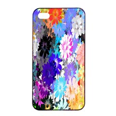 Flowers Colorful Drawing Oil Apple iPhone 4/4s Seamless Case (Black)
