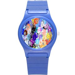 Flowers Colorful Drawing Oil Round Plastic Sport Watch (S)