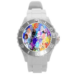 Flowers Colorful Drawing Oil Round Plastic Sport Watch (L)