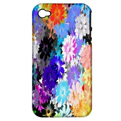 Flowers Colorful Drawing Oil Apple iPhone 4/4S Hardshell Case (PC+Silicone)