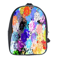 Flowers Colorful Drawing Oil School Bags (XL)
