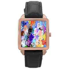 Flowers Colorful Drawing Oil Rose Gold Leather Watch