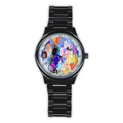 Flowers Colorful Drawing Oil Stainless Steel Round Watch