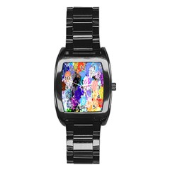 Flowers Colorful Drawing Oil Stainless Steel Barrel Watch