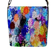 Flowers Colorful Drawing Oil Flap Messenger Bag (L)