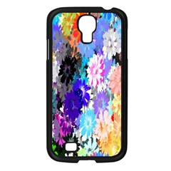 Flowers Colorful Drawing Oil Samsung Galaxy S4 I9500/ I9505 Case (Black)