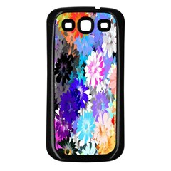 Flowers Colorful Drawing Oil Samsung Galaxy S3 Back Case (Black)