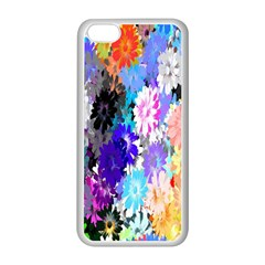 Flowers Colorful Drawing Oil Apple iPhone 5C Seamless Case (White)