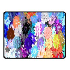 Flowers Colorful Drawing Oil Double Sided Fleece Blanket (small)