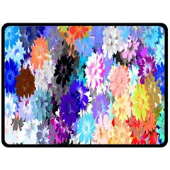Flowers Colorful Drawing Oil Double Sided Fleece Blanket (Large)