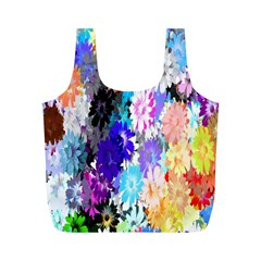 Flowers Colorful Drawing Oil Full Print Recycle Bags (M)