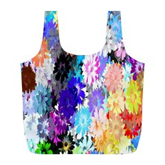 Flowers Colorful Drawing Oil Full Print Recycle Bags (L)