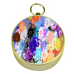 Flowers Colorful Drawing Oil Gold Compasses