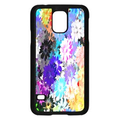 Flowers Colorful Drawing Oil Samsung Galaxy S5 Case (Black)