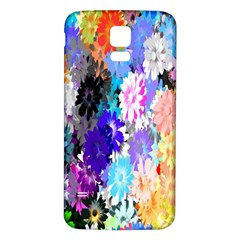 Flowers Colorful Drawing Oil Samsung Galaxy S5 Back Case (White)