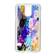 Flowers Colorful Drawing Oil Samsung Galaxy S5 Case (White)