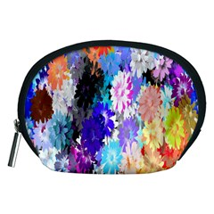 Flowers Colorful Drawing Oil Accessory Pouches (Medium)