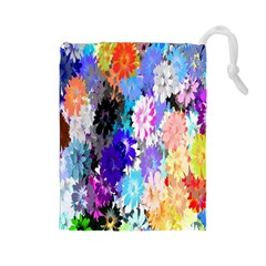 Flowers Colorful Drawing Oil Drawstring Pouches (Large)
