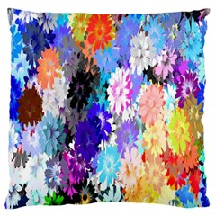 Flowers Colorful Drawing Oil Large Flano Cushion Case (One Side)